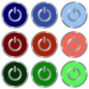 Set of glossy round flat power off icon in 9 colors. Well organized layer structure and color swatches. - Set of power off icons