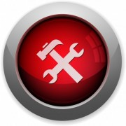 Red glossy tools web button. Arranged layer structure. - Red tools button