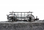 old hay wagon on the thatch with white background - old hay wagon