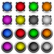 Set of 16 round glossy color web buttons with shadows. Fully organized layer structure and color swatches. Easy to recolor or make hover effects, etc. - Set of color web buttons