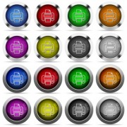Set of 16 round glossy color print web buttons with shadows. Fully organized layer structure and color swatches. Easy to recolor or make hover effects, etc. - Set of color print web buttons