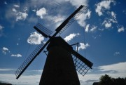 Windmill silhouette and beautiful cloudy blue sky - Windmill silhouette