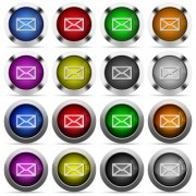 Set of 16 round glossy color mail web buttons with shadows. Fully organized layer structure and color swatches. Easy to recolor or make hover effects, etc. - Set of color mail web buttons