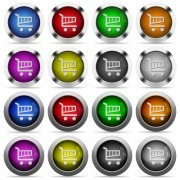 Set of 16 round glossy color cart web buttons with shadows. Fully organized layer structure and color swatches. Easy to recolor or make hover effects, etc. - Set of color cart web buttons