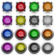 Set of 16 round glossy color web search web buttons with shadows. Fully organized layer structure and color swatches. Easy to recolor or make hover effects, etc. - Set of color web search web buttons
