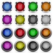 Set of 16 round glossy color trash web buttons with shadows. Fully organized layer structure and color swatches. Easy to recolor or make hover effects, etc. - Set of color trash web buttons