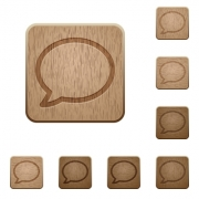 Set of carved wooden chat buttons. 8 variations included. Arranged layer structure. - Chat wooden buttons