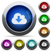 Set of round glossy cloud download buttons. Arranged layer structure. - Cloud download button set