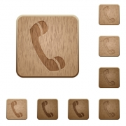 Set of carved wooden call buttons. 8 variations included. Arranged layer structure. - Call wooden buttons
