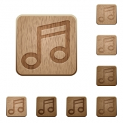 Set of carved wooden music buttons. 8 variations included. Arranged layer structure. - Music wooden buttons