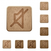 Set of carved wooden mute buttons. 8 variations included. Arranged layer structure. - Mute wooden buttons