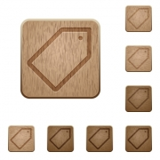 Set of carved wooden tag buttons. 8 variations included. Arranged layer structure. - Tag wooden buttons