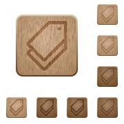 Set of carved wooden tags buttons. 8 variations included. Arranged layer structure. - Tags wooden buttons