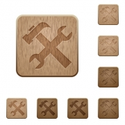 Set of carved wooden tools buttons. 8 variations included. Arranged layer structure.