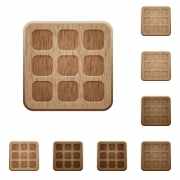 Set of carved wooden large thumbnails buttons. 8 variations included. Arranged layer structure. - Small thumbnails wooden buttons