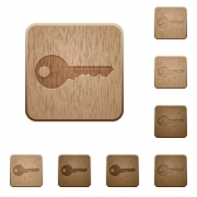 Set of carved wooden key buttons. 8 variations included. Arranged layer structure. - Key wooden buttons