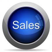 Blue glossy sales concept button. Arranged layer structure. - Blue sales concept button