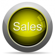 Yellow glossy sales concept button. Arranged layer structure. - Yellow sales concept button