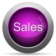 Purple glossy sales concept button. Arranged layer structure. - Purple sales concept button