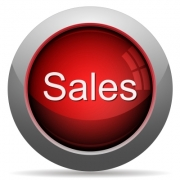 Red glossy sales concept button. Arranged layer structure. - Red sales concept button