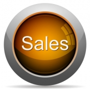 Orange glossy sales concept button. Arranged layer structure. - Orange sales concept button
