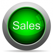 Green glossy sales concept button. Arranged layer structure. - Green sales concept button