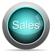 Cyan glossy sales concept button. Arranged layer structure. - Cyan sales concept button