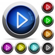 Set of round glossy media play buttons. Arranged layer structure. - Media play button set