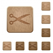 Set of carved wooden cut buttons. 8 variations included. Arranged layer structure. - Cut wooden buttons