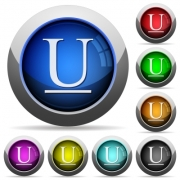 Set of round glossy underlined font buttons. Arranged layer structure. - Underlined font button set