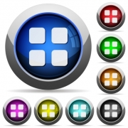 Set of round glossy large thumbnails buttons. Arranged layer structure. - Large thumbnails button set