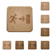Set of carved wooden exit buttons. 8 variations included. Arranged layer structure. - Exit wooden buttons