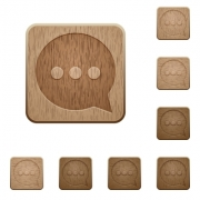 Set of carved wooden working chat buttons. 8 variations included. Arranged layer structure. - Working chat wooden buttons