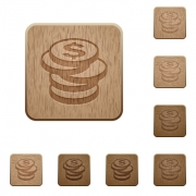 Set of carved wooden coins buttons. 8 variations included. Arranged layer structure. - Coins wooden buttons