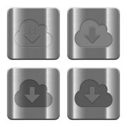 Set of Cloud download buttons vector in brushed metal style. Arranged layer, color and graphic style structure. - Metal Cloud download buttons