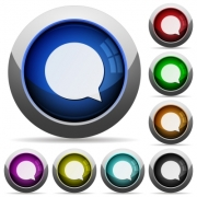 Set of round glossy chat buttons. Arranged layer structure. - Chat button set