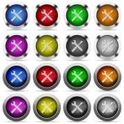 Set of tools glossy web buttons. Arranged layer structure. - Tools button set