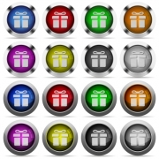 Set of gift glossy web buttons. Arranged layer structure. - Gift button set