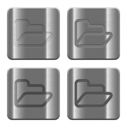 Set of Folder buttons vector in brushed metal style. Arranged layer, color and graphic style structure. - Metal Folder buttons