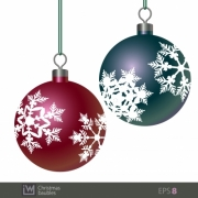 Snowflake patterned Christmas baubles. Design for illustration, card, ads and any Christmas themes. - Snowflake Patterned Christmas Baubles