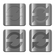 Set of Refresh buttons vector in brushed metal style. Arranged layer, color and graphic style structure. - Metal Refresh buttons