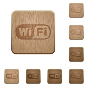 Set of carved wooden wifi buttons. 8 variations included. Arranged layer structure. - Wifi wooden buttons