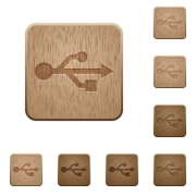 Set of carved wooden usb buttons. 8 variations included. Arranged layer structure. - USB wooden buttons
