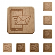 Set of carved wooden send mail buttons. 8 variations included. Arranged layer structure. - Send mail wooden buttons