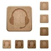 Set of carved wooden headset buttons. 8 variations included. Arranged layer structure. - Headset wooden buttons