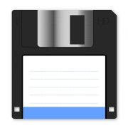 Floppy disk vector with light blue vignette on white background. Arranged layer structure - Floppy disk