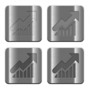 Set of Graph buttons vector in brushed metal style. Arranged layer, color and graphic style structure. - Metal Graph buttons