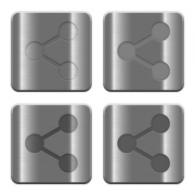 Set of Share buttons vector in brushed metal style. Arranged layer, color and graphic style structure. - Metal Share buttons