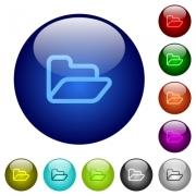 Set of color folder glass web buttons. Arranged layer structure. - Color folder glass buttons