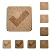 Set of carved wooden ok buttons. 8 variations included. Arranged layer structure. - Ok wooden buttons